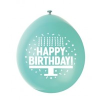 "Happy Birthday 9"" Latex Air Fill Balloon - Assorted Colours, Printed 1 Side - 10ct."