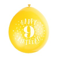 "Happy 9th Birthday 9"" Latex Air Fill Balloon - Assorted Colours, Printed 1 Side - 10ct."