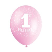 Pink 1st Birthday 5Ct Latex Helium Fill Latex Balloon