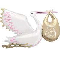 "Stork It's a Girl 62"" Foil Balloon"