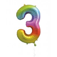 "34"" Rainbow Number 3 - Foil Balloon"