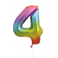 "34"" Rainbow Number 4 - Foil Balloon"