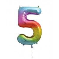 "34"" Rainbow Number 5 - Foil Balloon"