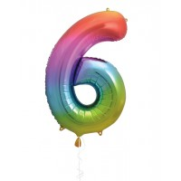 "34"" Rainbow Number 6 - Foil Balloon"