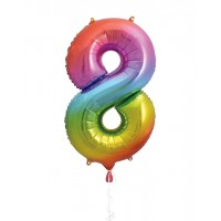 "34"" Rainbow Number 8 - Foil Balloon"
