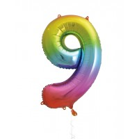 "34"" Rainbow Number 9 - Foil Balloon"