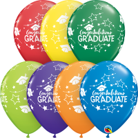 "Multi Coloured Congratulations Graduate Stars 11"" Round 25ct"