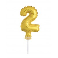 "5"" Gold Numeral 2 Balloon Cake Topper"