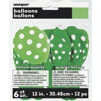 "Lime Green. Dots  12"" Latex Balloons 6 CT."