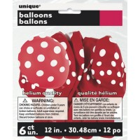 Ruby Red. Dots Polka 12'' Latex