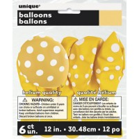 Sunflower Yellow. Dots  - 12'' Latex Balloon - 6 CT.