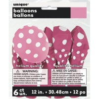 Hot Pink. Dots  12'' Latex Balloons 6 CT.
