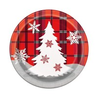 "7"" Round Plates - Rustic Plaid Christmas 10CT."