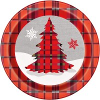 "9"" Round Plates - Rustic Christmas Plaid 8CT."
