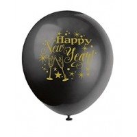 "Happy New Year - 12"" Black and White 8ct Latex Balloons"