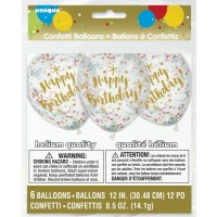 """Glitzy Gold Birthday w/Multi Colour Confetti 12"""" Latex 6ct"""