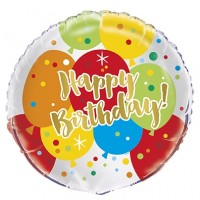 "Happy Birthday Colourful Balloons 18"" Foil Balloon"