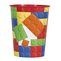 16oz. Plastic Cup - Building Blocks - 1ct. 6PK.