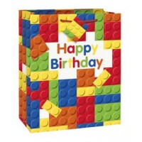 "Large Gift Bag - Building Blocks Party 12½""H x 10½""W"