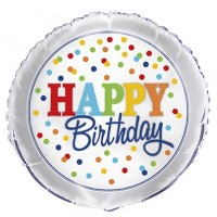 "Happy Birthday Silver and Colourful Confetti 18"" Foil Balloon"