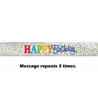Happy Birthday Rainbow Polka Dot Foil Banner 12ft.
