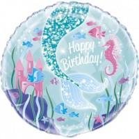 "Happy Birthday - Mermaid  - 18"" Foil Balloon"