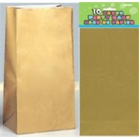 Paper Party Bags - Gold Metallic 10ct