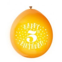 "Happy 5th Birthday 9"" Latex Air Fill Balloon - Assorted Colours, Printed 1 Side - 10ct."