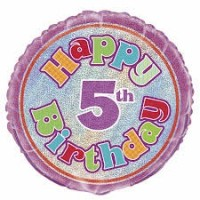 "Happy 5th Birthday Prismatic 18"" foil"