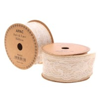 Natural with White Lace Ribbon 50mm x 5yds