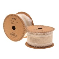 Natural with White Lace Edged Ribbon (50mm x 5yds)