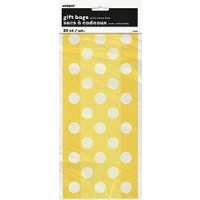 "Sunflower Yellow. Dots Cello Bags 11""H x 5""W 20 CT."