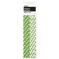Lime Green. Dots Paper Straws 10 CT.