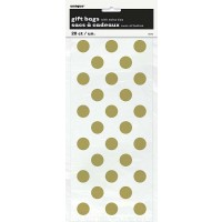 "Gold. Dots Cello Bags - 11""H x 5""W 20 CT."