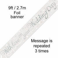 With Love on your Wedding Day 9ft Foil Banner