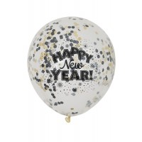 "Happy New Year 12"" Clear 6ct Latex Balloons"