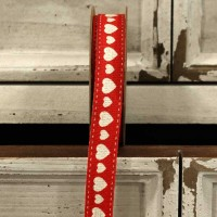 Red Hearts Linen Ribbon 15mm x 5 yards
