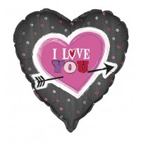 "Black Heart Shaped I Love You 18"" Foil Balloon"