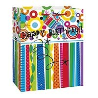 "Rainbow Happy Birthday Large Glossy Gift Bag 12½""H x 10½""W"