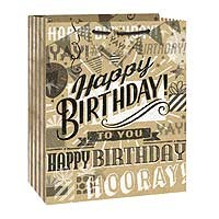 "Kraft Paper Happy Birthday Large Glossy Gift Bag 12½""H x 10½""W"