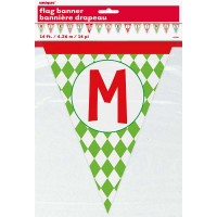 Merry Christmas Patterned Paper Flag Banner 14 Ft.
