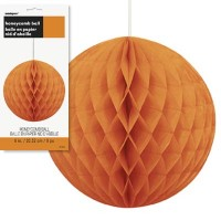 "Honeycomb Balls 8"" Orange 1CT."