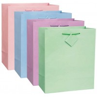 12 Solid Colour Pastel Gift Bags - Assorted Colours