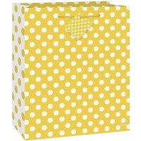 Sunflower Yellow. Dots Medium Gift Bag -  (12 Gift Bags, €0.49each)