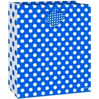 Royal Blue. Dots Medium Gift Bag - (12 Gift Bags €0.49 each)