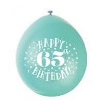 "Happy 65th Birthday 9"" Latex Air Fill Balloon - Assorted Colours, Printed 1 Side - 10ct."