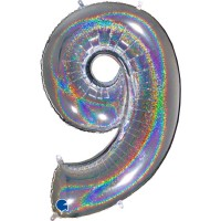 "Number 9 Holo Glitter 40"" Silver Foil Balloon"