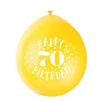"Happy 70th Birthday 9"" Latex Air Fill Balloon - Assorted Colours, Printed 1 Side - 10ct."