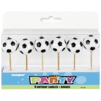 "Soccer Ball Pick Birthday Candles 3.25"" H 6CT."