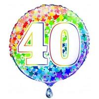 """Age 40 - Rainbow Stars - 18"""" Foil Balloon"""